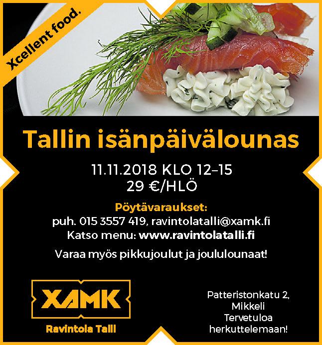 Tallin isänpäivä su 11.11.2018 - Ravintolat